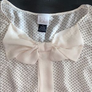 LOLA blouse with polka dots and a beautiful bow